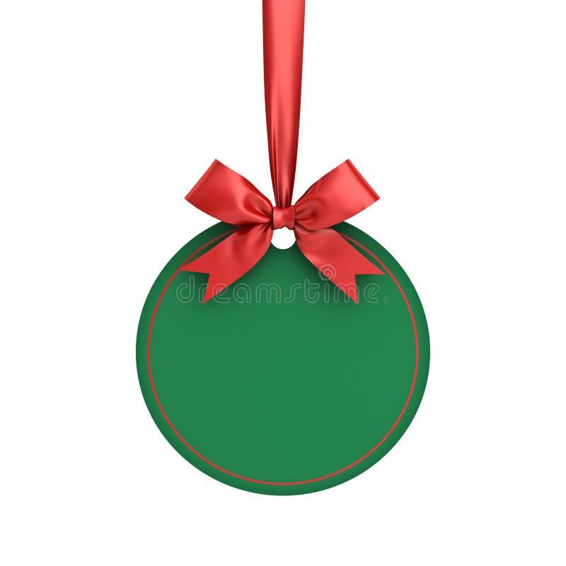 空白绿皮书回合圣诞节球框架标记标签卡片在白色隔绝的模板垂悬与发光的红色丝带的和弓 皇族释放例证