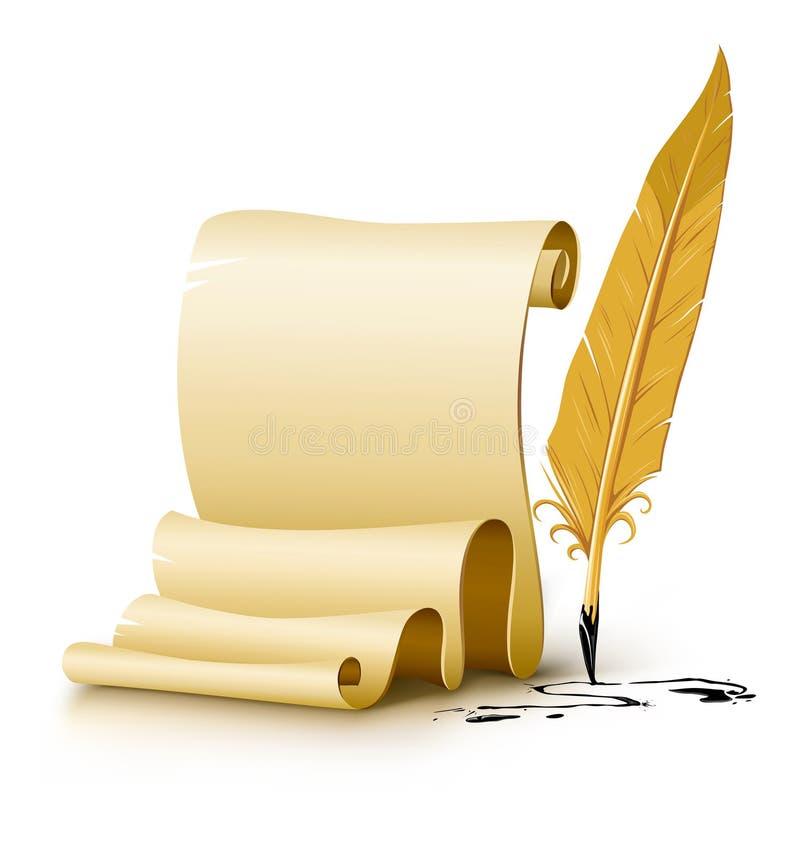 空白羽毛墨水老纸笔脚本 皇族释放例证