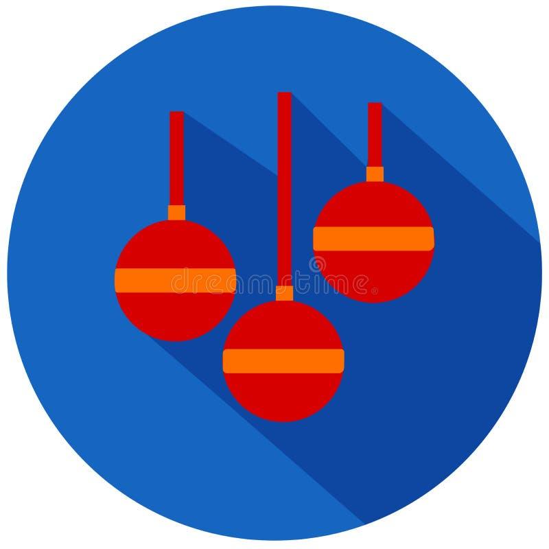 空白背景圣诞节玻璃查出的范围的玩具 向量例证