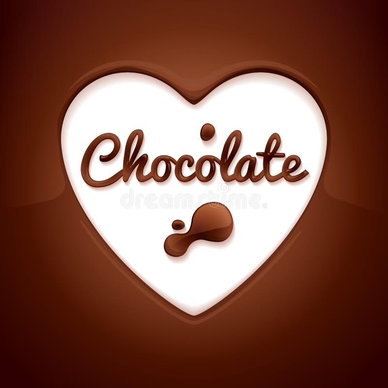 空白背景巧克力黑暗的点心的甜点 心形的空间 向量例证