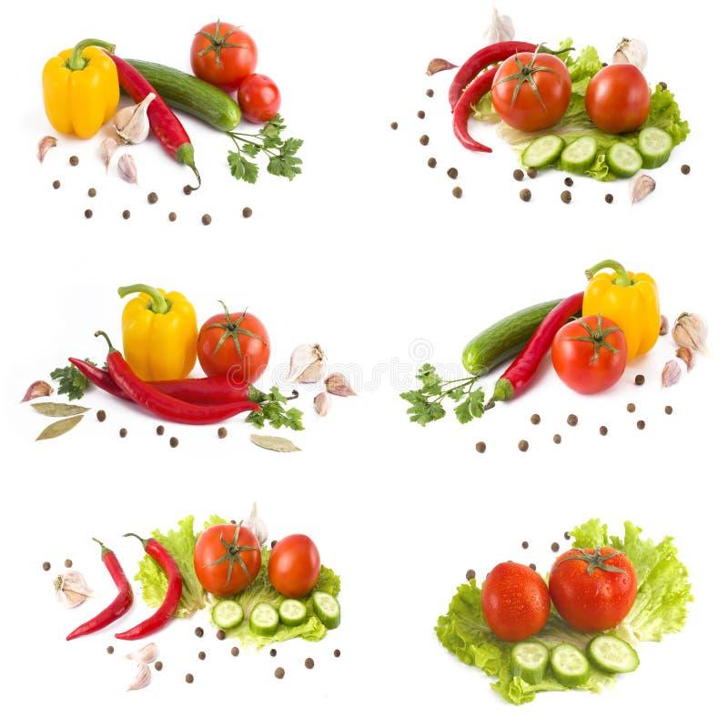 空白背景接近的重点新鲜的有选择性的蔬菜 黄色胡椒,在白色背景的红辣椒 免版税库存图片