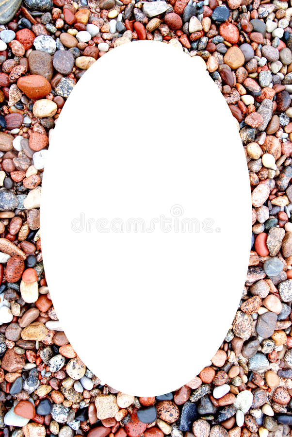 空白背景沿海框架卵形照片的stonnies 库存照片