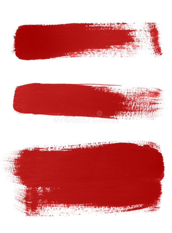 空白背景画笔红色的冲程 向量例证