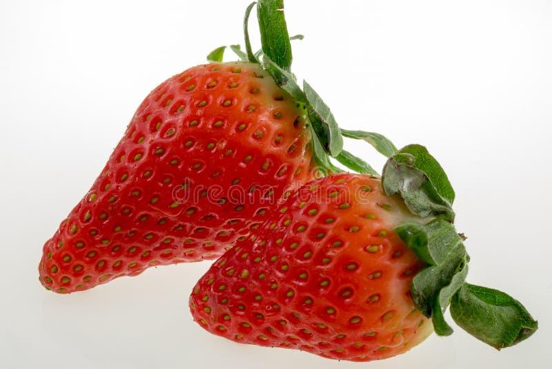 空白背景的草莓 免版税库存照片