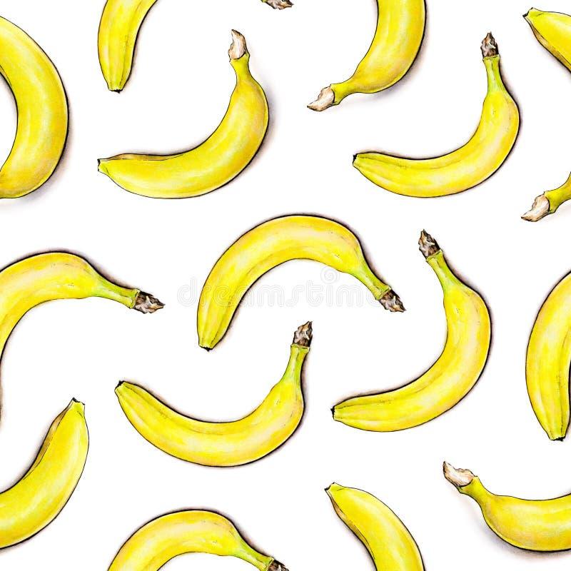 空白背景的香蕉 无缝的模式 额嘴装饰飞行例证图象其纸部分燕子水彩 热带的果子 手工 库存例证
