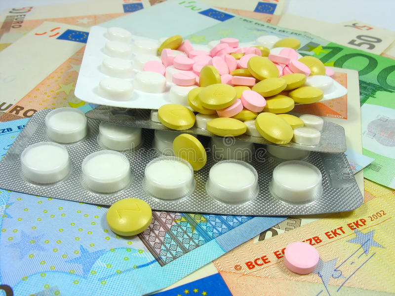 空白色的药物的药片 库存照片