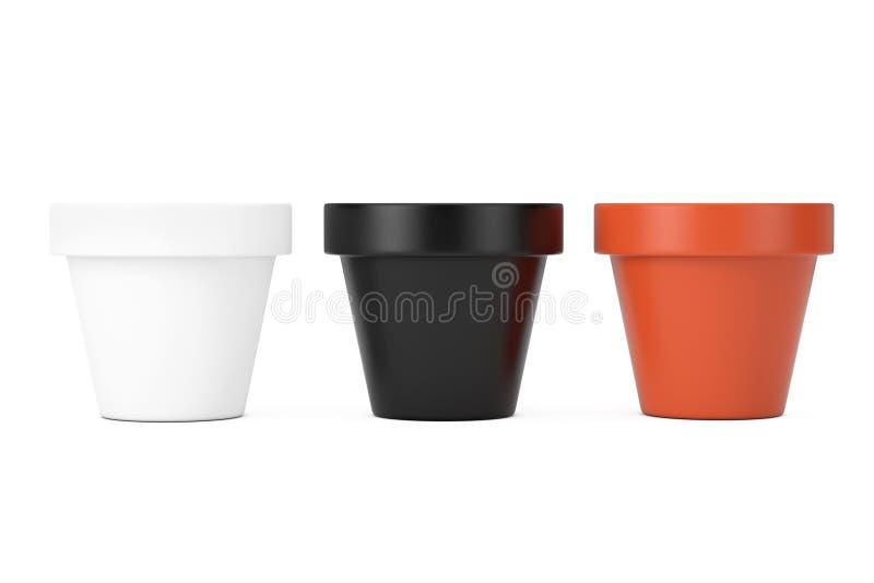 空白色,黑色和布朗没有漆的黏土花盆 3d?? 库存例证