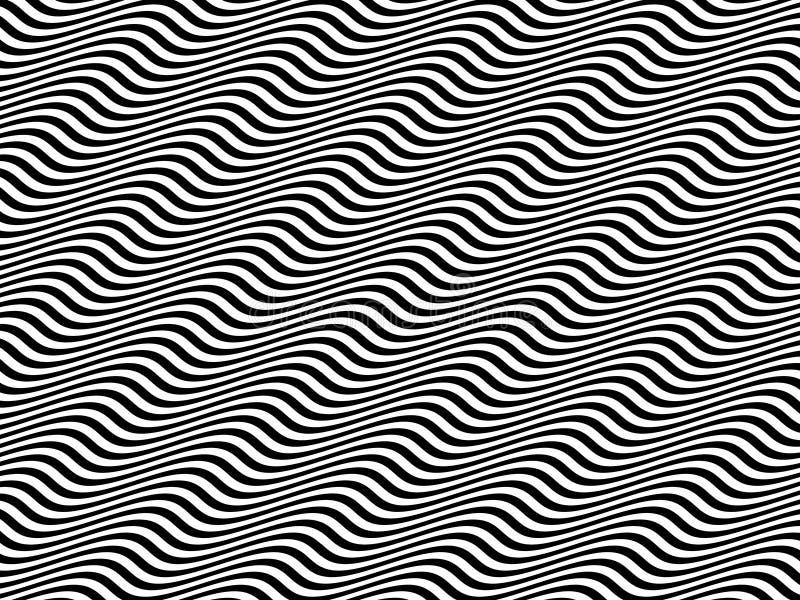 空白艺术黑色水平的操作的正弦波 皇族释放例证
