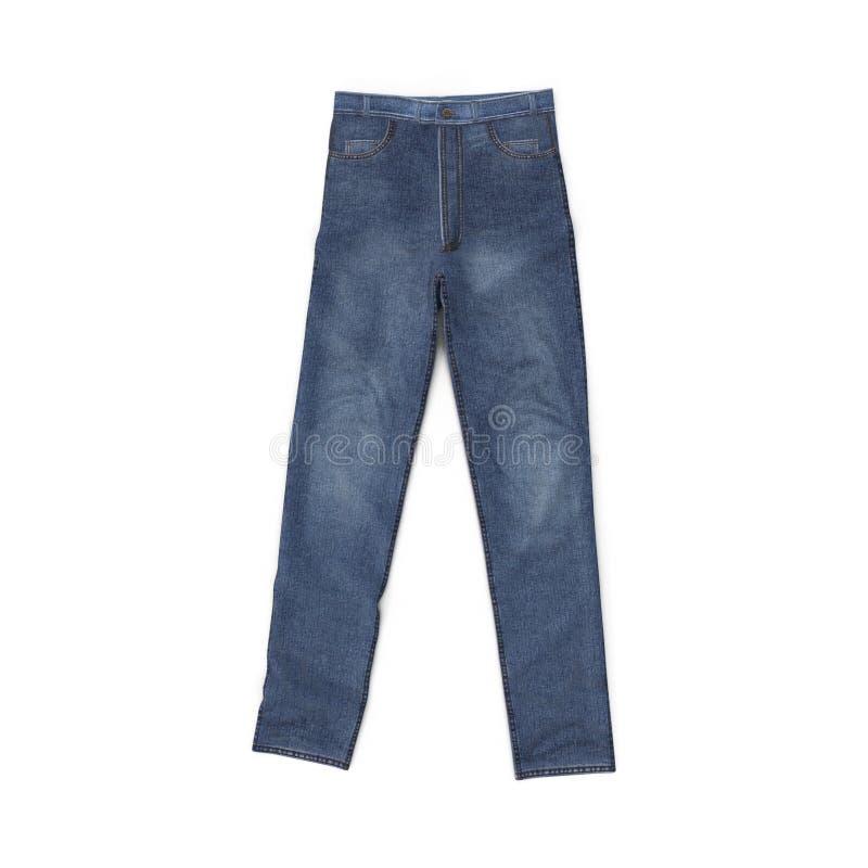 空白蓝色查出的牛仔裤 顶视图 3d例证 向量例证