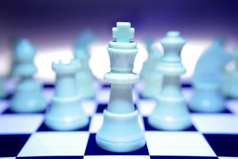 空白蓝色的棋子 免版税库存照片