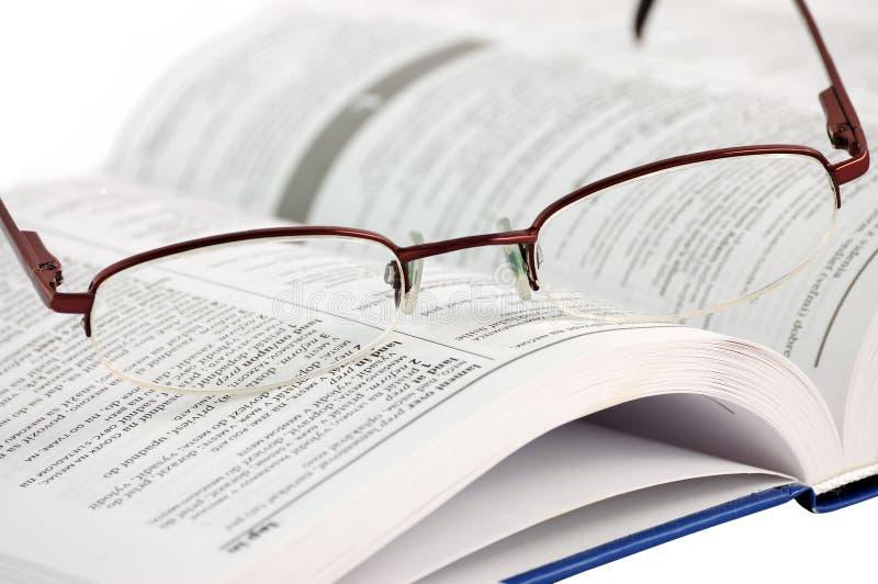 空白词典的玻璃 免版税库存图片