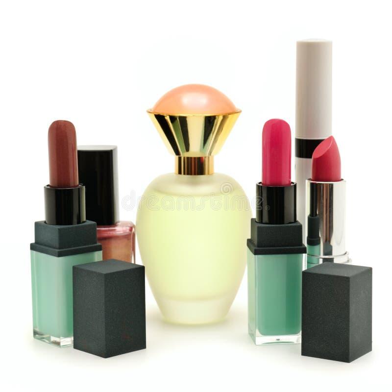 空白辅助部件背景装饰性的化妆用品的香水 免版税库存图片