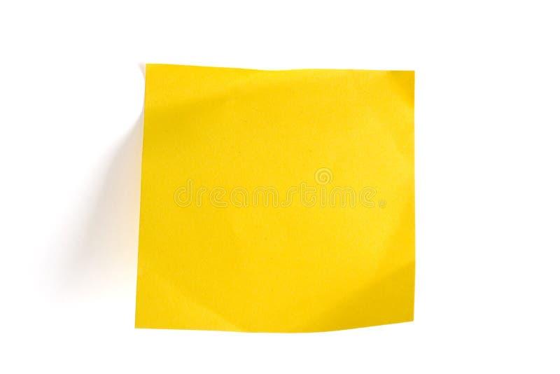空白通知单附注黄色 库存照片