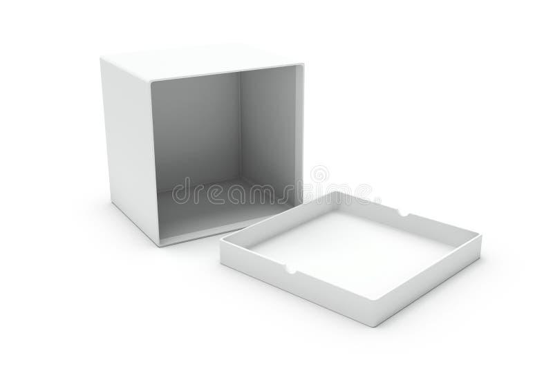 空白配件箱一个开放副白色 向量例证