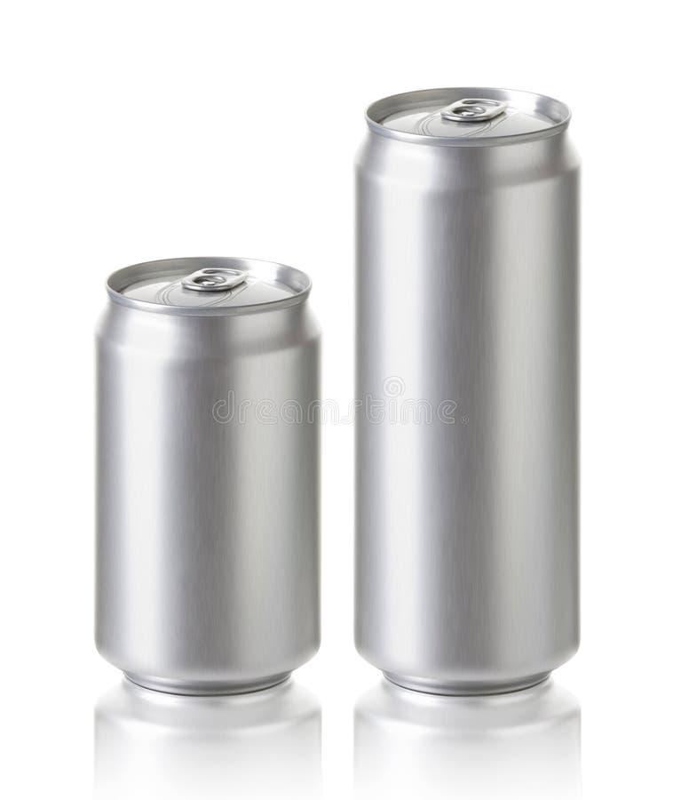 空白铝啤酒或汽水罐,可实现的照片图象 免版税库存图片