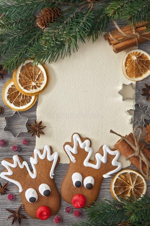 空白附注和圣诞节蛋糕 库存图片