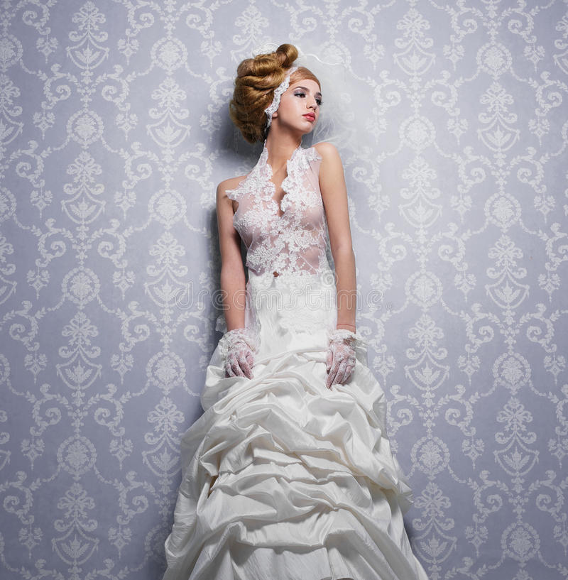 空白鞋带婚礼礼服 图库摄影