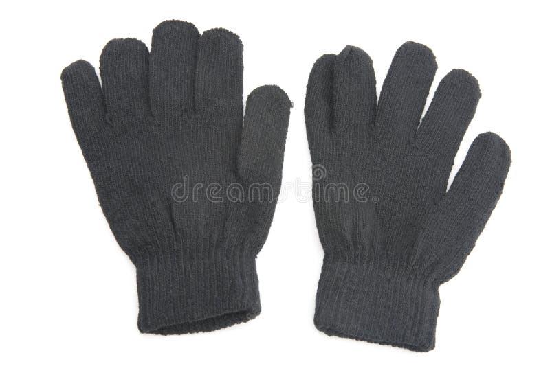空白黑色的手套 免版税库存照片