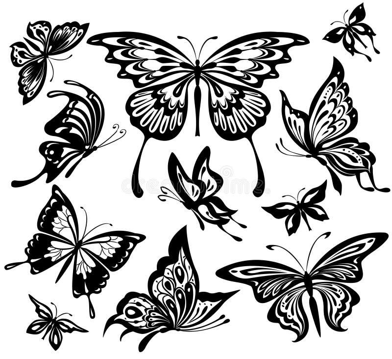 空白黑色的蝴蝶 库存例证