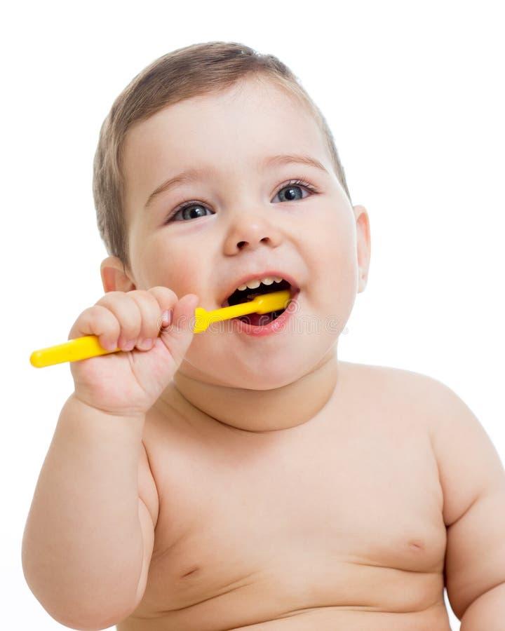 空白婴孩清洁查出的微笑的牙 免版税库存照片