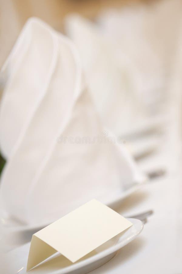 空白placecard婚礼 库存图片