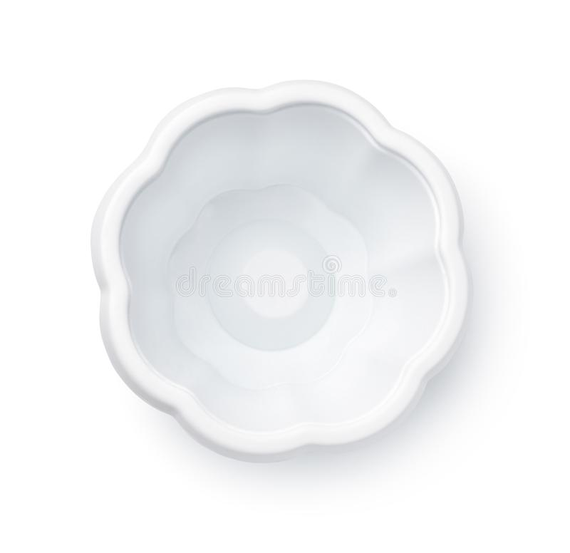 空的一次性塑料冰淇淋杯子顶视图  免版税库存图片