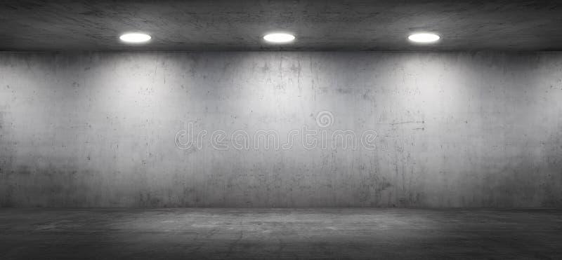 空的与地板的混凝土墙陈列室现代车库内部 图库摄影