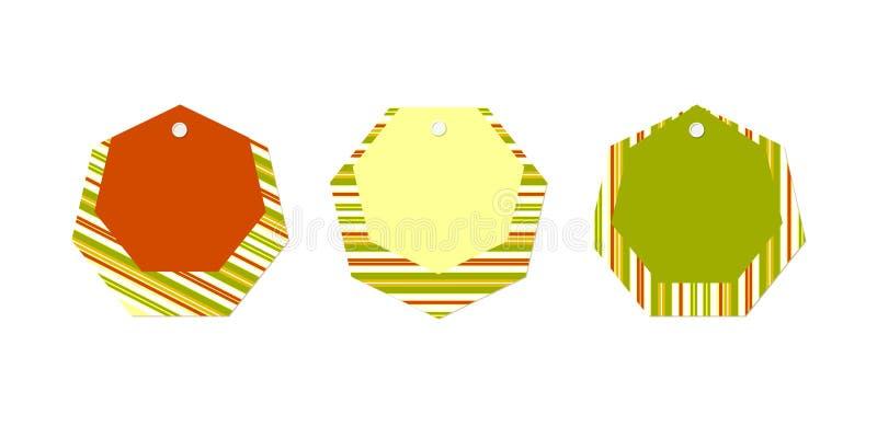 空的价牌布局设置了条纹线多角形绿色红色黄色横幅在广告的一个白色背景现代设计元素的 皇族释放例证