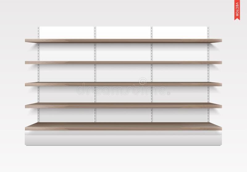 空的传染媒介货架 木材料 陈列室显示 有后面的零售架子机架 库存例证
