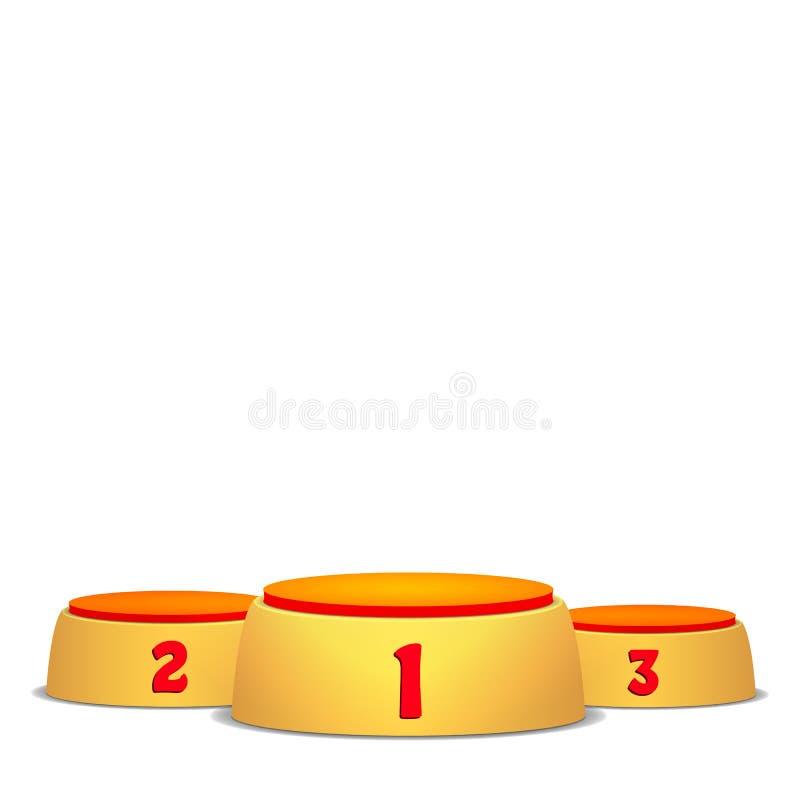 空的传染媒介指挥台 与首先的圆的优胜者垫座概念,颁奖仪式的第二和第三名 隔绝  库存例证