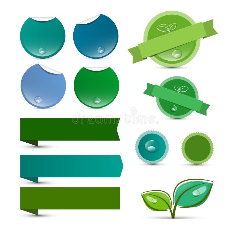 空的传染媒介自然产品绿色标签 皇族释放例证