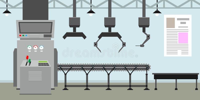 空的传送带系统用大量生产的机器人手 工厂里面或内部与平的颜色样式 向量例证