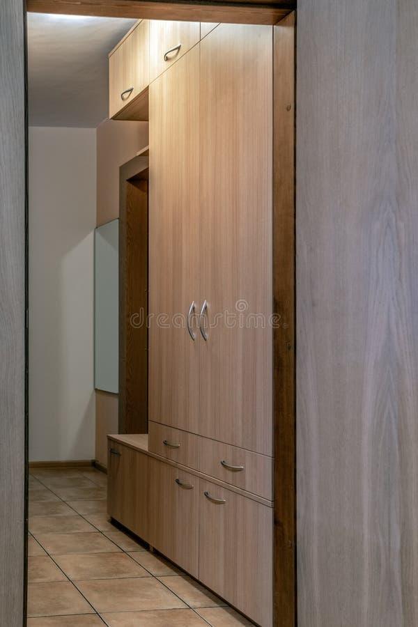 空的公寓,衣橱内部  免版税库存照片