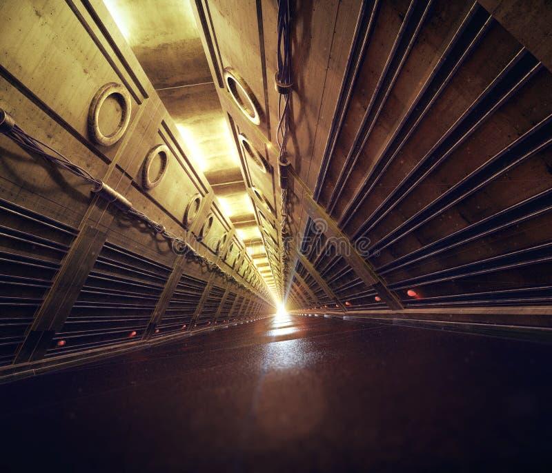 空的具体地铁防核尘地下室科学幻想小说隧道走廊走廊3d回报 向量例证