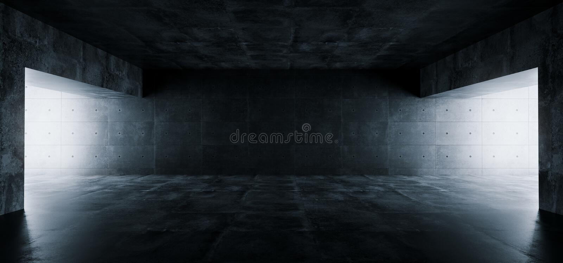 空的典雅的现代难看的东西黑暗的反射混凝土Undergroun 向量例证