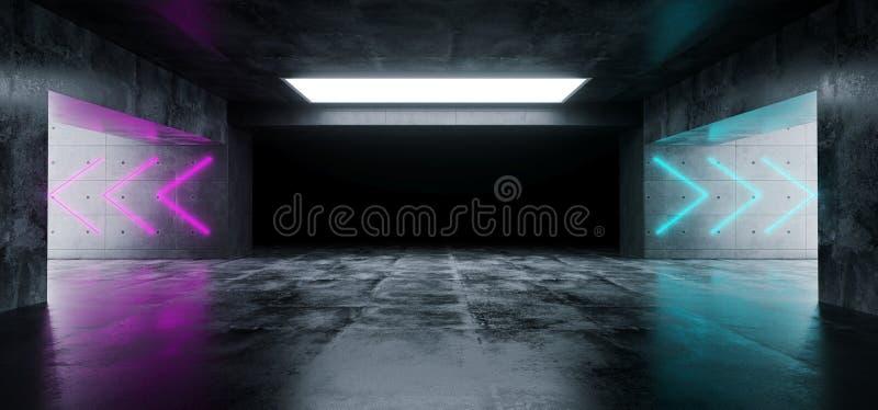 空的典雅的现代难看的东西黑暗的反射混凝土Undergroun 皇族释放例证