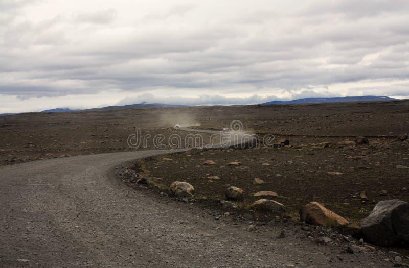 空的冰岛路 免版税库存照片
