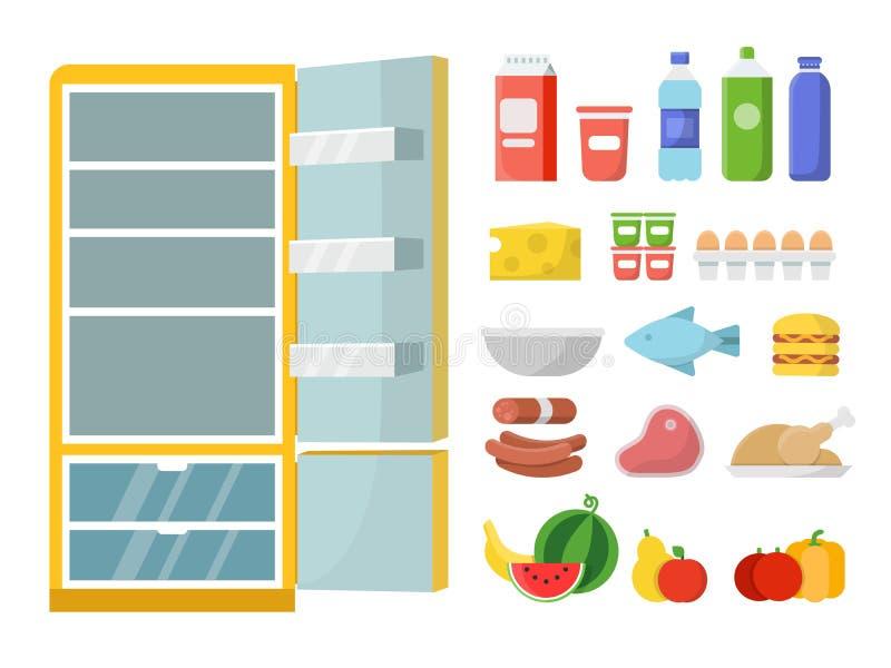空的冰箱和另外食物 传染媒介平的例证 向量例证