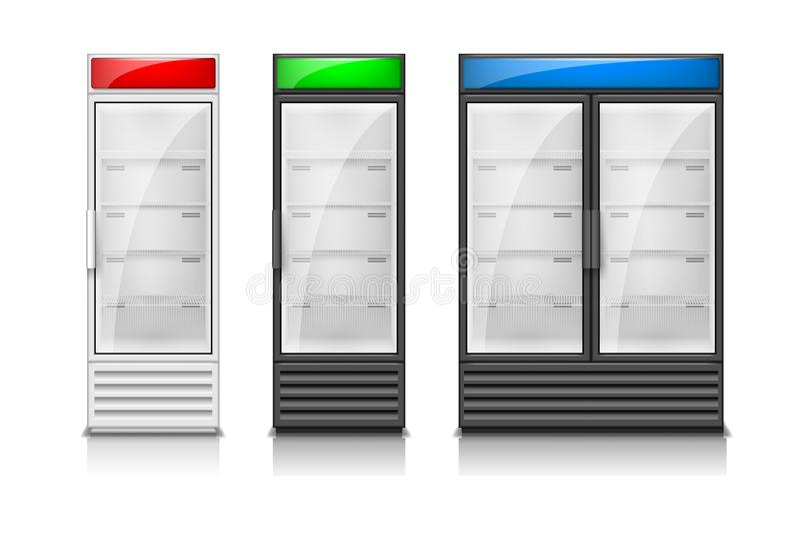 空的冰箱玻璃滚滑门 现代超级市场商业冷冻机设备模板 冰箱结冰 向量例证
