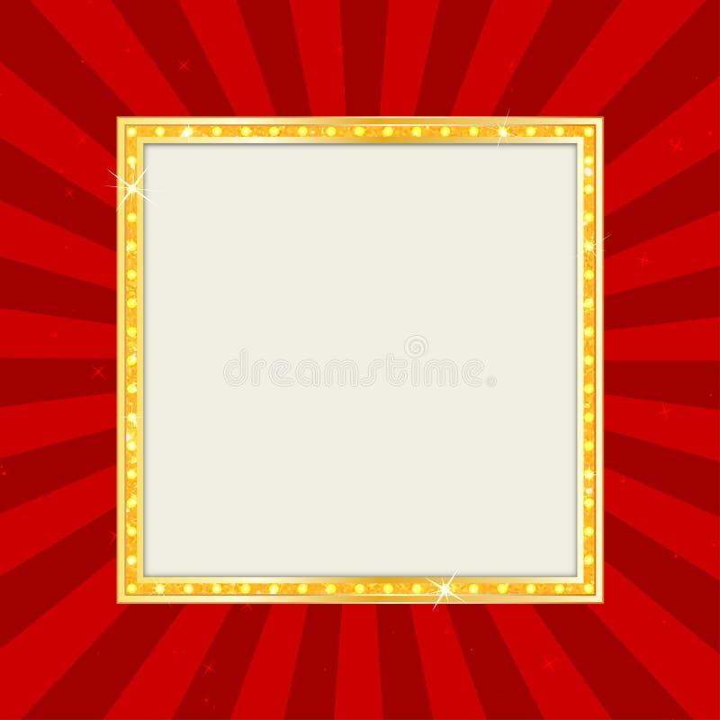 空的剧院标志或戏院标志在流行艺术背景 金减速火箭的牌 库存例证