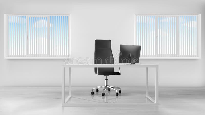 空的办公室室内部,有书桌的工作场所 向量例证