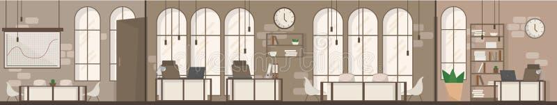 空的办公室空间内部现代工作场所空间平的传染媒介例证 向量例证