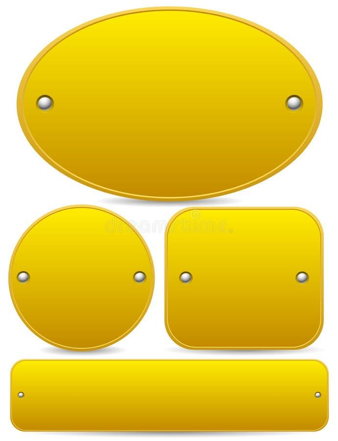 空的匾(金子、黄铜或者古铜) 向量例证