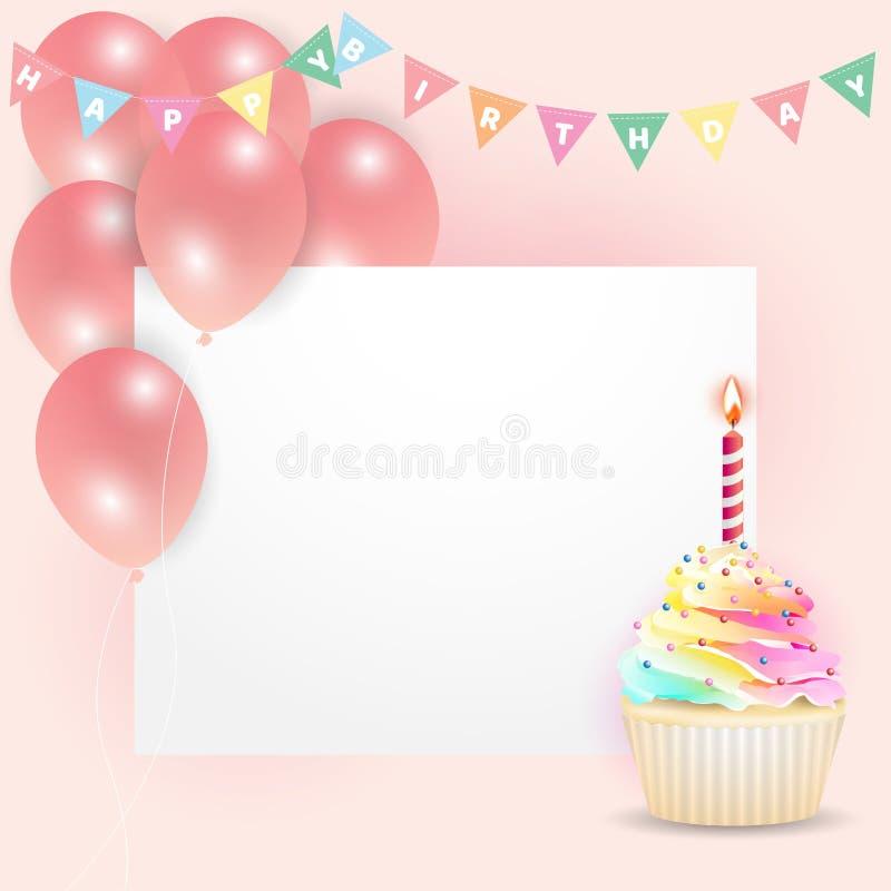 空的卡片用乳脂状的杯形蛋糕和气球生日庆祝的 向量例证