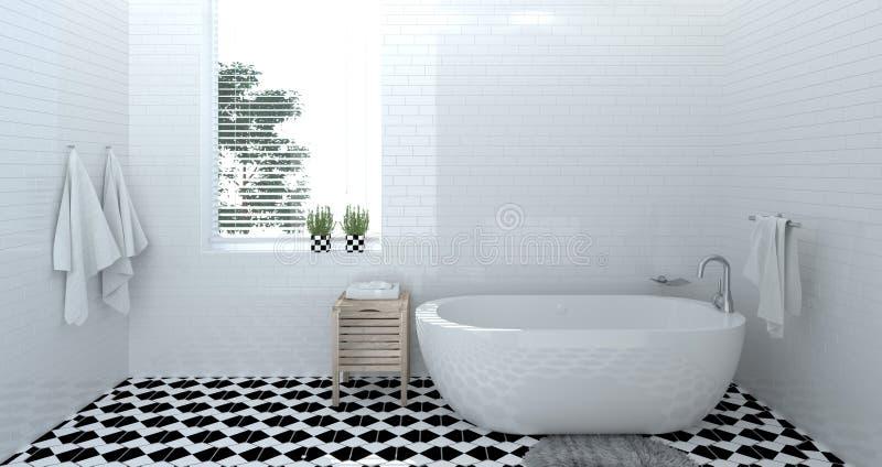 空的卫生间内部,洗手间,阵雨,拷贝空间背景白色瓦片卫生间的现代家庭设计3d翻译 向量例证