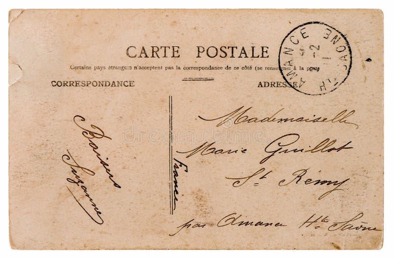 空的古色古香的法国明信片 背景资料减速火箭的样式 免版税库存照片
