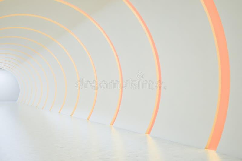 空的回合白色和橙色霓虹隧道 库存例证