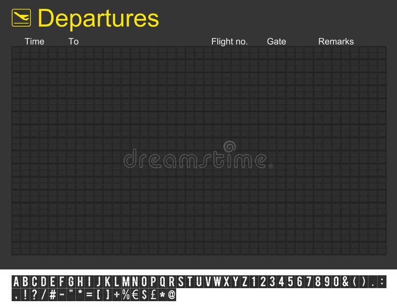 空的国际机场启运董事会 向量例证