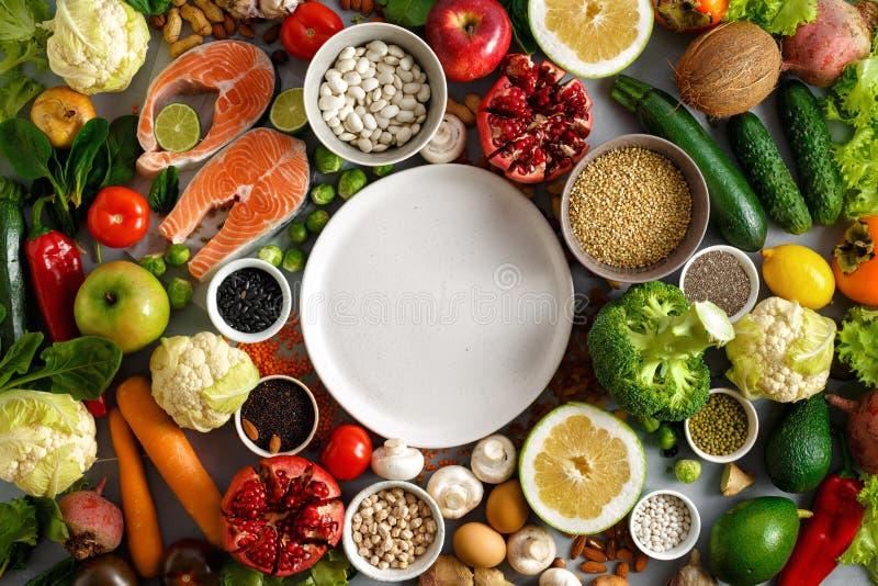空的圆的板材健康饮食食物健康饮食菜单餐馆 免版税库存照片
