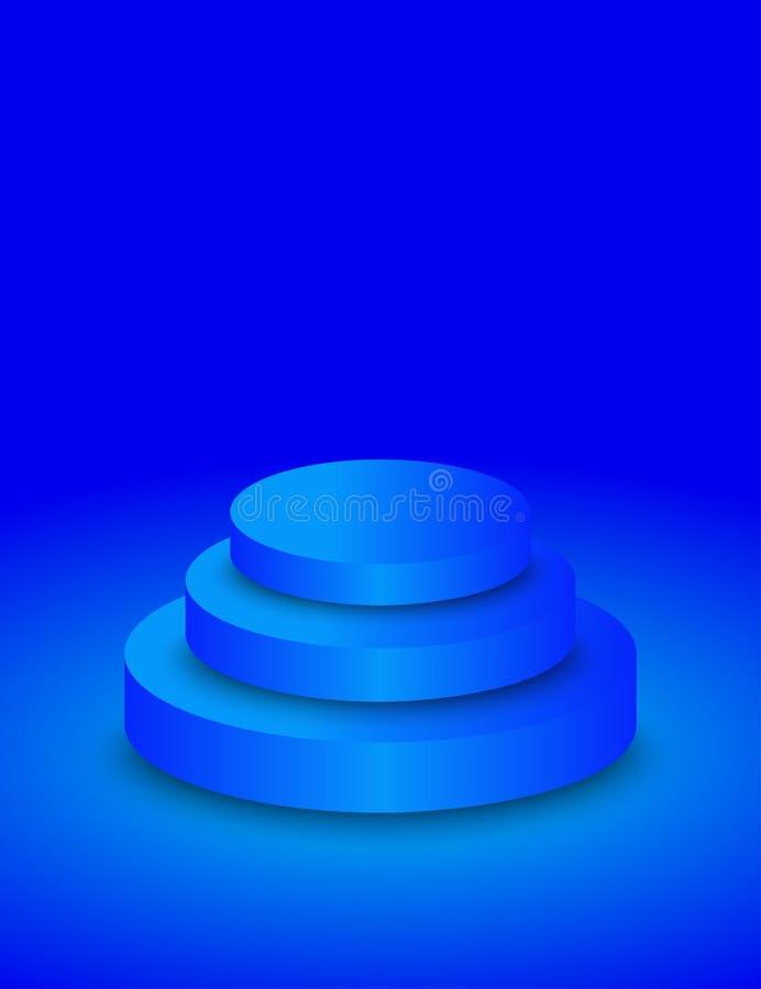 空的圈子蓝色指挥台 库存例证